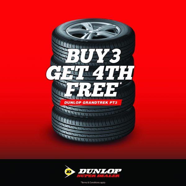 buy 3 dunlop tyres get 4th free Dunlop Grandtrek pt3