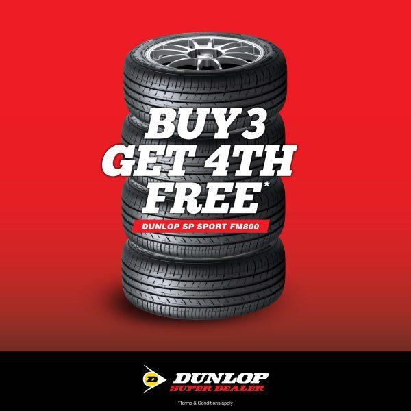 buy 3 dunlop tyres get 4th free Dunlop SP sport fm800