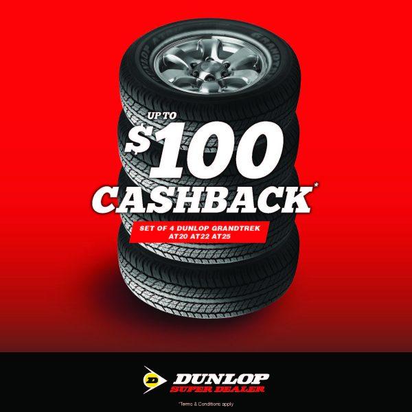 tyre specials dunlop dealer $100 cashback
