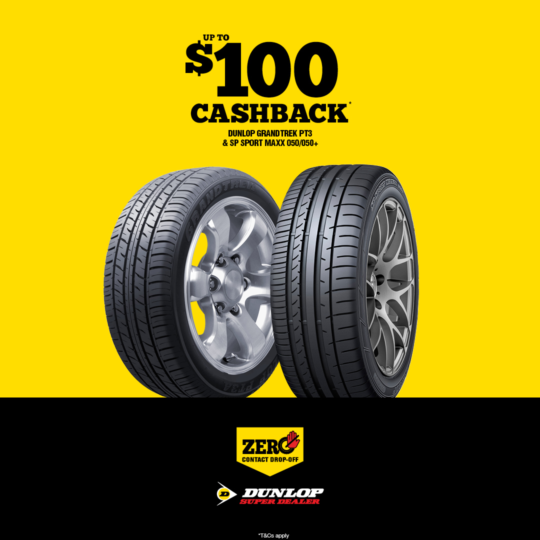 $100 cashback Dunlop Super Dealer